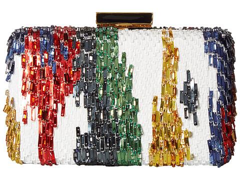 Oscar de la Renta Rogan Box Clutch - White Multi Embroidered Satin