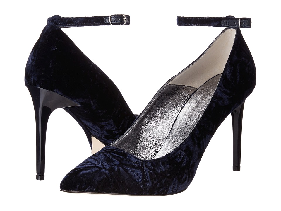 Oscar de la Renta Roos 90mm (Navy Crushed Velvet) Women