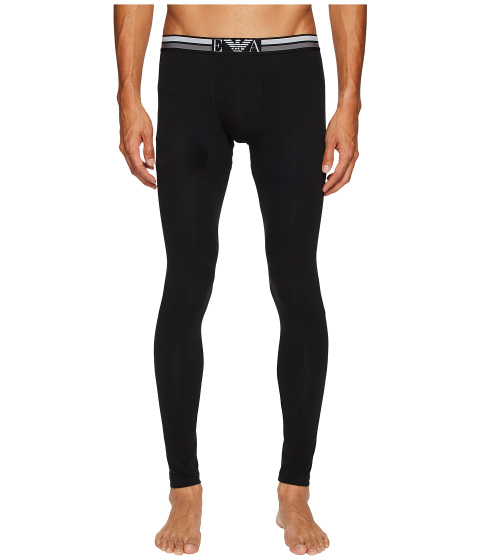 Emporio Armani Rugby Player Pop Stripe Leggings (Solid Black) Men