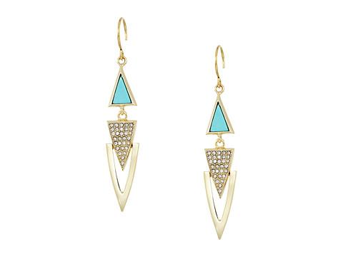 Vera Bradley Triangle Triple Drop Earrings - Gold Tone