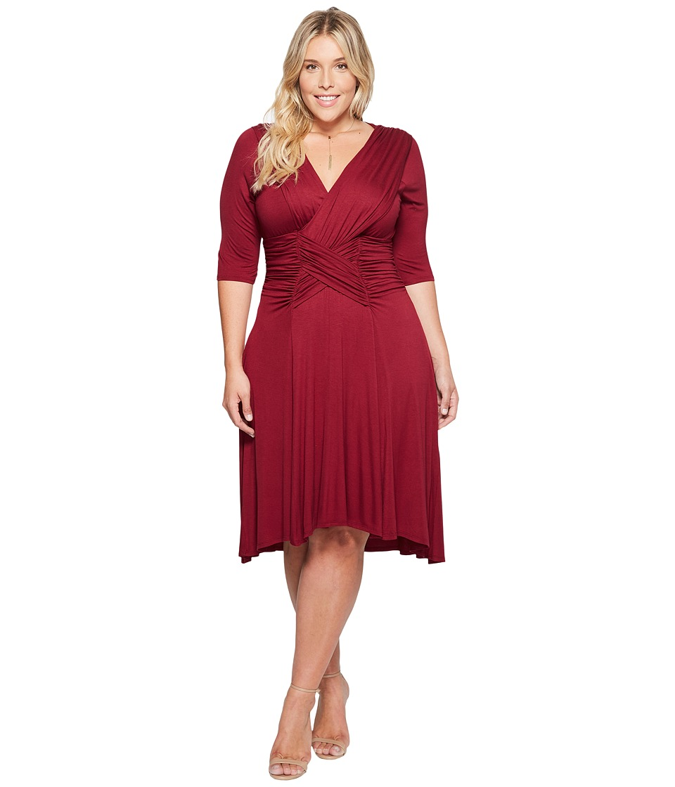 Kiyonna Refined Ruched Dress (Merlot) Women