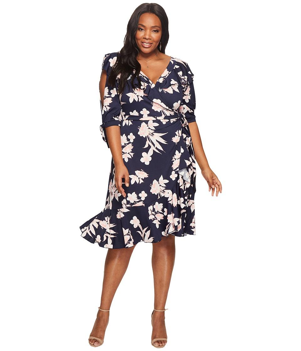 Kiyonna Winnie Wrap Dress (Navy/Blush Print) Women