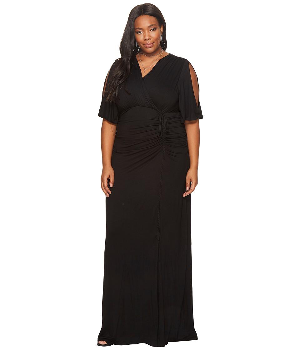 Kiyonna Bella Braided Maxi Dress (Black Noir) Women