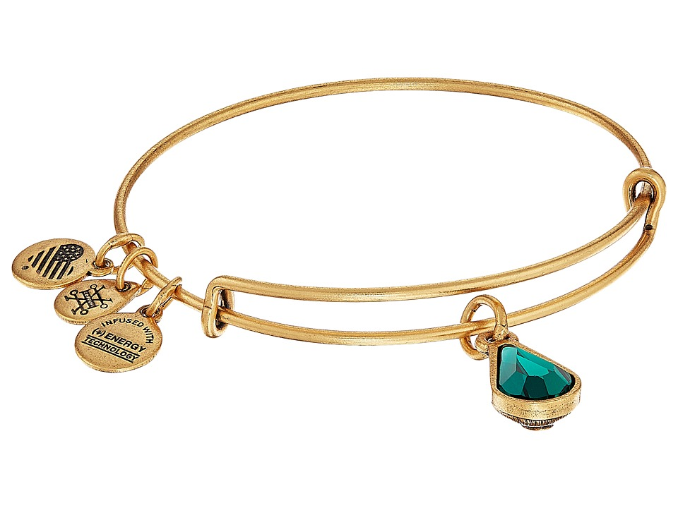 Alex and Ani - Swarovski Teardrop Color Code Bangle (May/Rafaelian Gold/Emerald) Bracelet