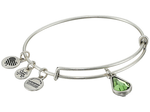 Alex and Ani Swarovski Teardrop Color Code Bangle - August/Rafaelian Silver/Peridot