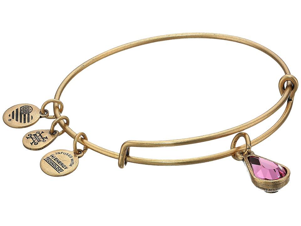 Alex and Ani - Swarovski Teardrop Color Code Bangle (October/Rafaelian Gold/Rose) Bracelet