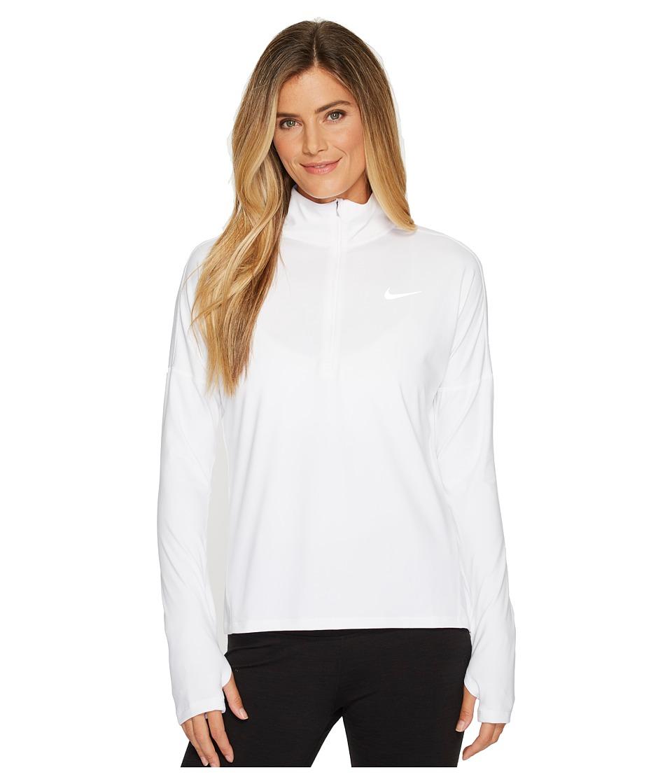 Nike Dry Element 1/2 Zip Running Top (White) Women's Long...