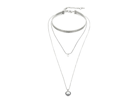 Lucky Brand Hard Choker & Pendant Set Necklace - Silver