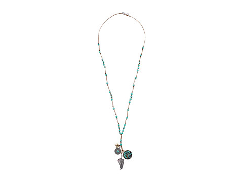 Lucky Brand Mosaic Charm Long Necklace - Two-Tone