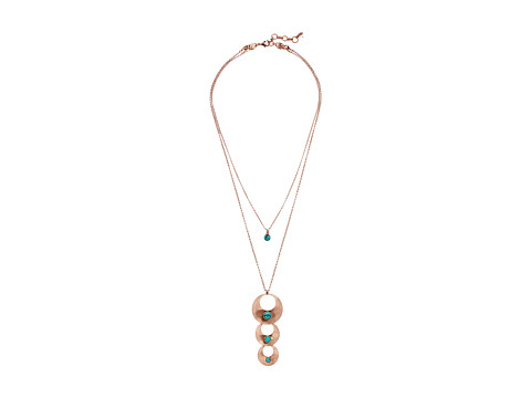 Lucky Brand Turquoise Triple Pendant Necklace - Rose Gold