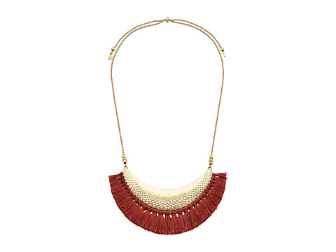 Lucky Brand Openwork Statement Necklace with Tassels - Gold