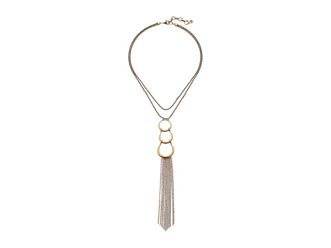 Lucky Brand Hoop Pendant Necklace with Fringe - Gold