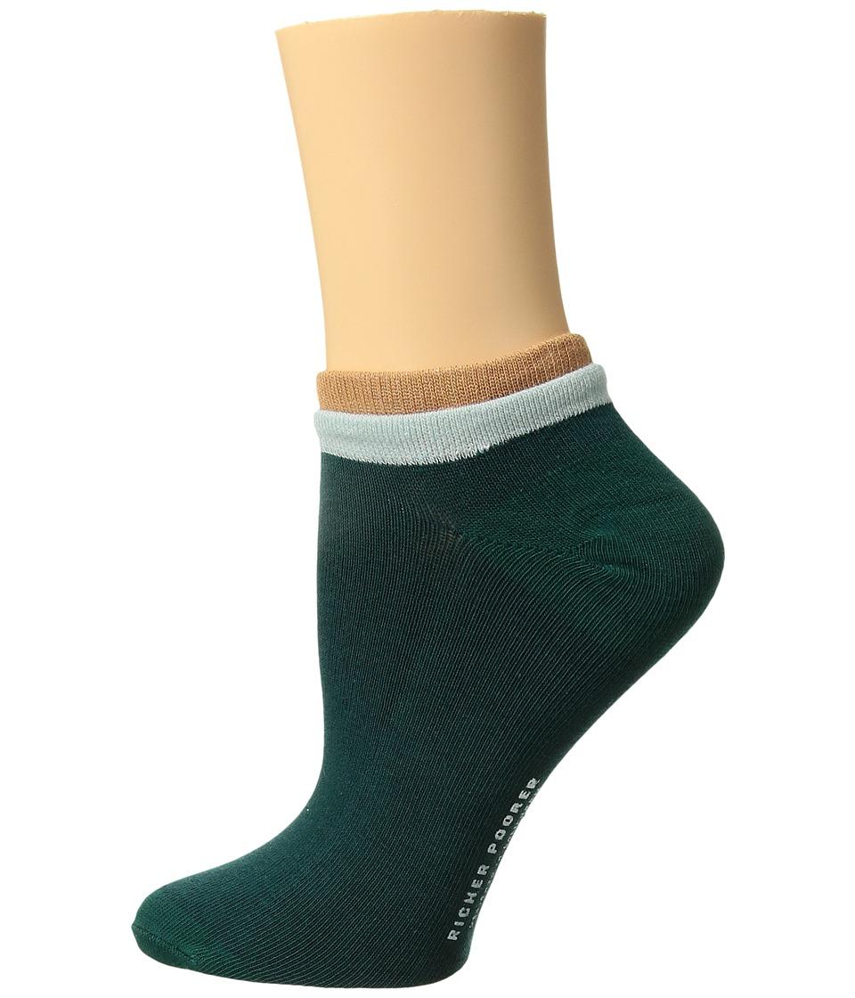 Richer Poorer - Cassat Low Show (Green/Tan) Womens Crew Cut Socks Shoes