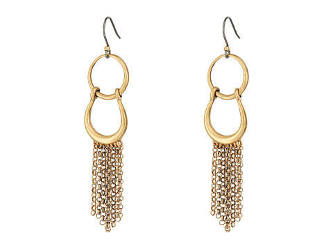 Lucky Brand Front Facing Hoop with Fringe Earrings - Gold
