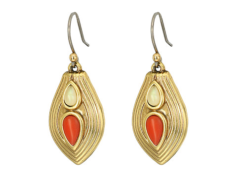 Lucky Brand Leather and Coral Earrings - Gold