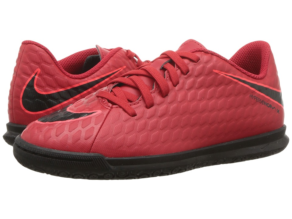 Nike Kids Hypervenom Phade III IC Soccer (Little Kid/Big Kid) (University Red/Black/Bright Crimson) Kids Shoes