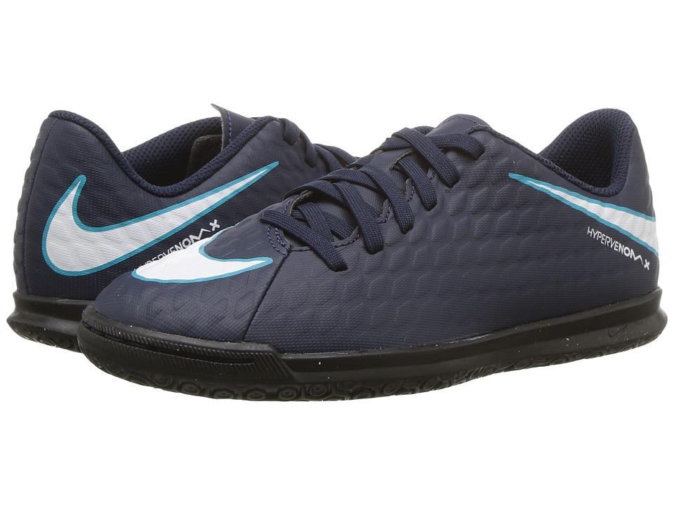 Nike Kids Hypervenom Phade III IC Soccer (Little Kid/Big Kid) (Obsidian/White/Gamma Blue/Glacier Blue) Kids Shoes