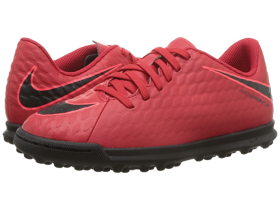Nike Kids Hypervenom Phade III TF Soccer (Little Kid/Big Kid) (University Red/Black/Bright Crimson) Kids Shoes