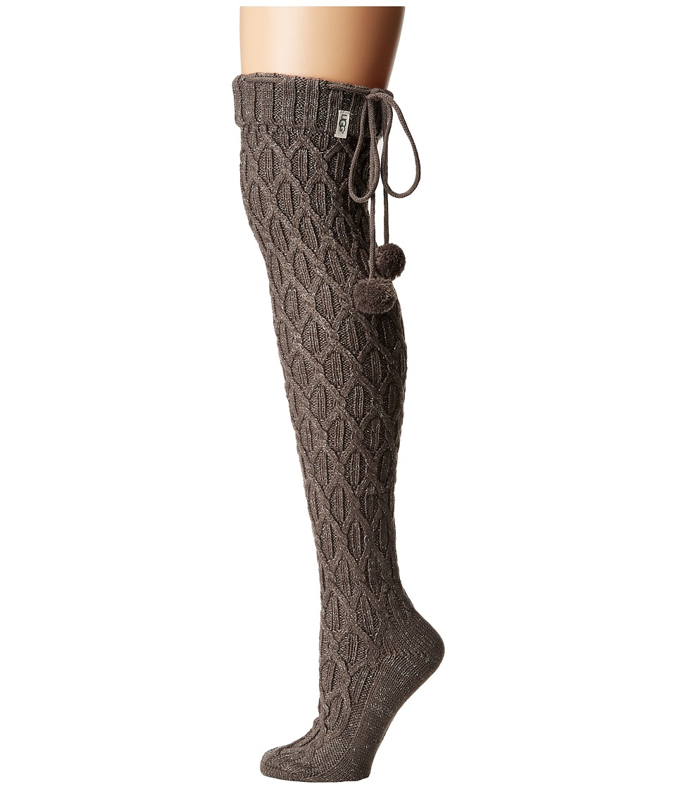 Ugg Sparkle Cable Knit Socks (Charcoal Heather/Silver) Wo...