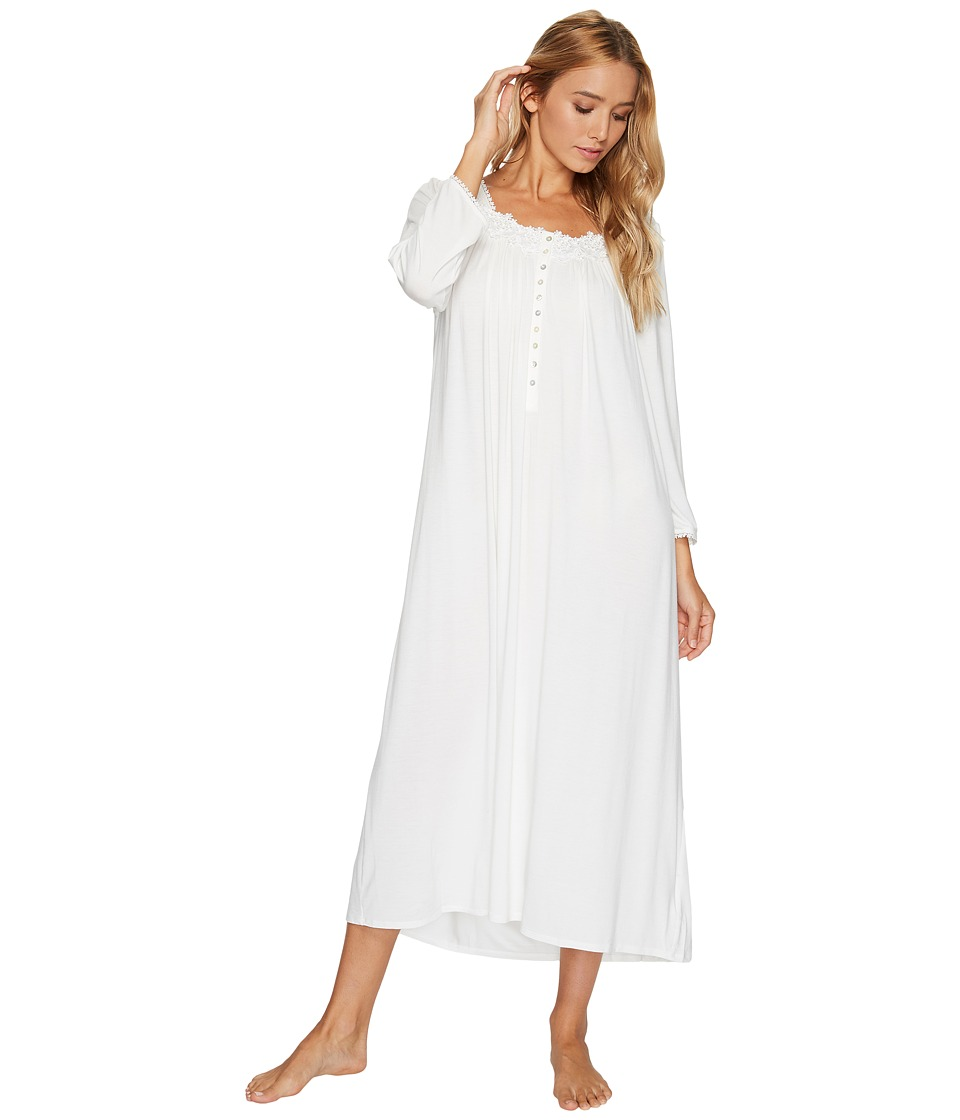 Vintage Inspired Nightgowns, Robes, Pajamas, Baby Dolls Eileen West - Modal Waltz Ballet Long Sleeve Nightgown Solid Winter White Womens Pajama $78.00 AT vintagedancer.com