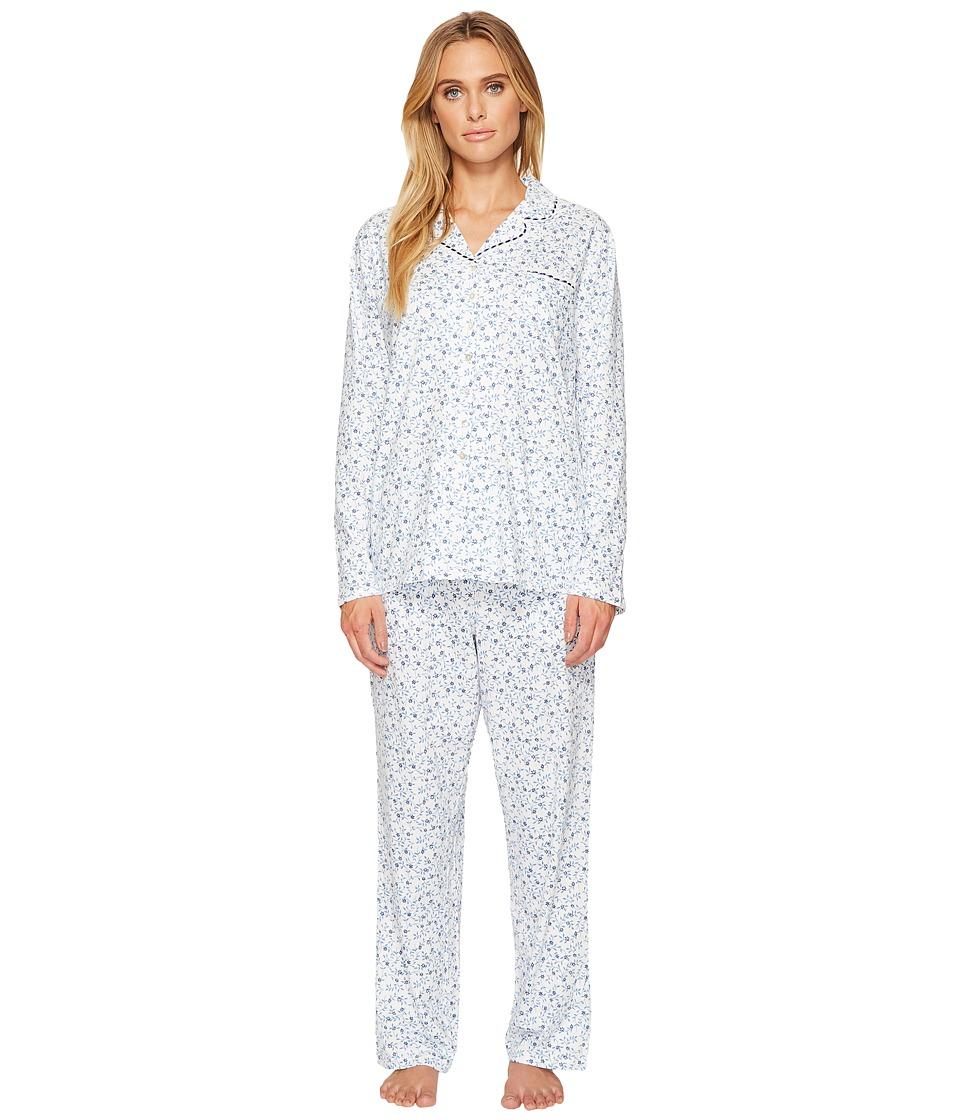 Eileen West - Cotton Jersey Notch Collar Long Pajamas