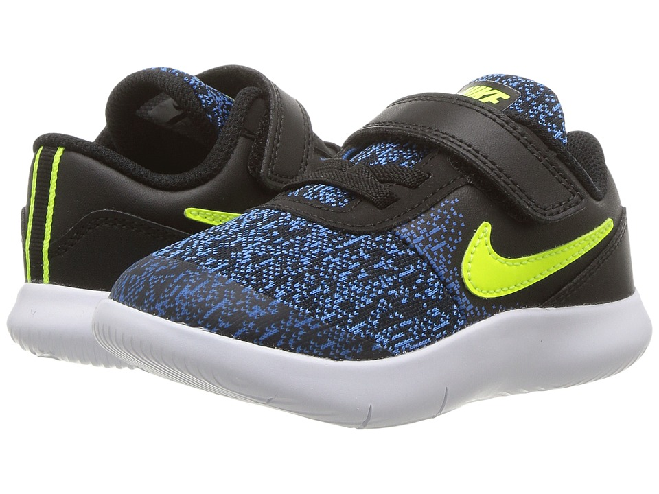 Nike Kids Flex Contact (Infant/Toddler) (Black/Volt/Photo Blue/White) Boys Shoes