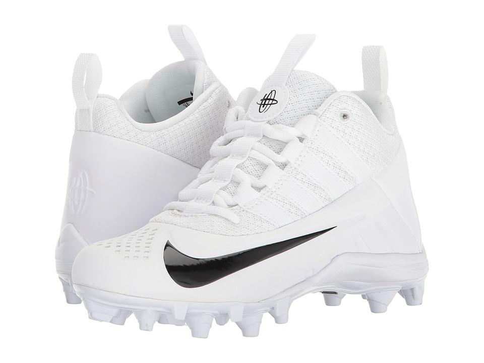 Nike Kids Alpha Huarache 6 BG LAX (Little Kid/Big Kid) (White/Black/Black) Kids Shoes