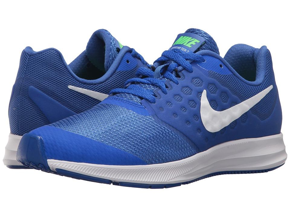 Nike Kids Downshifter 7 (Big Kid) (Mega Blue/White/Green Strike/Racer Blue) Boys Shoes