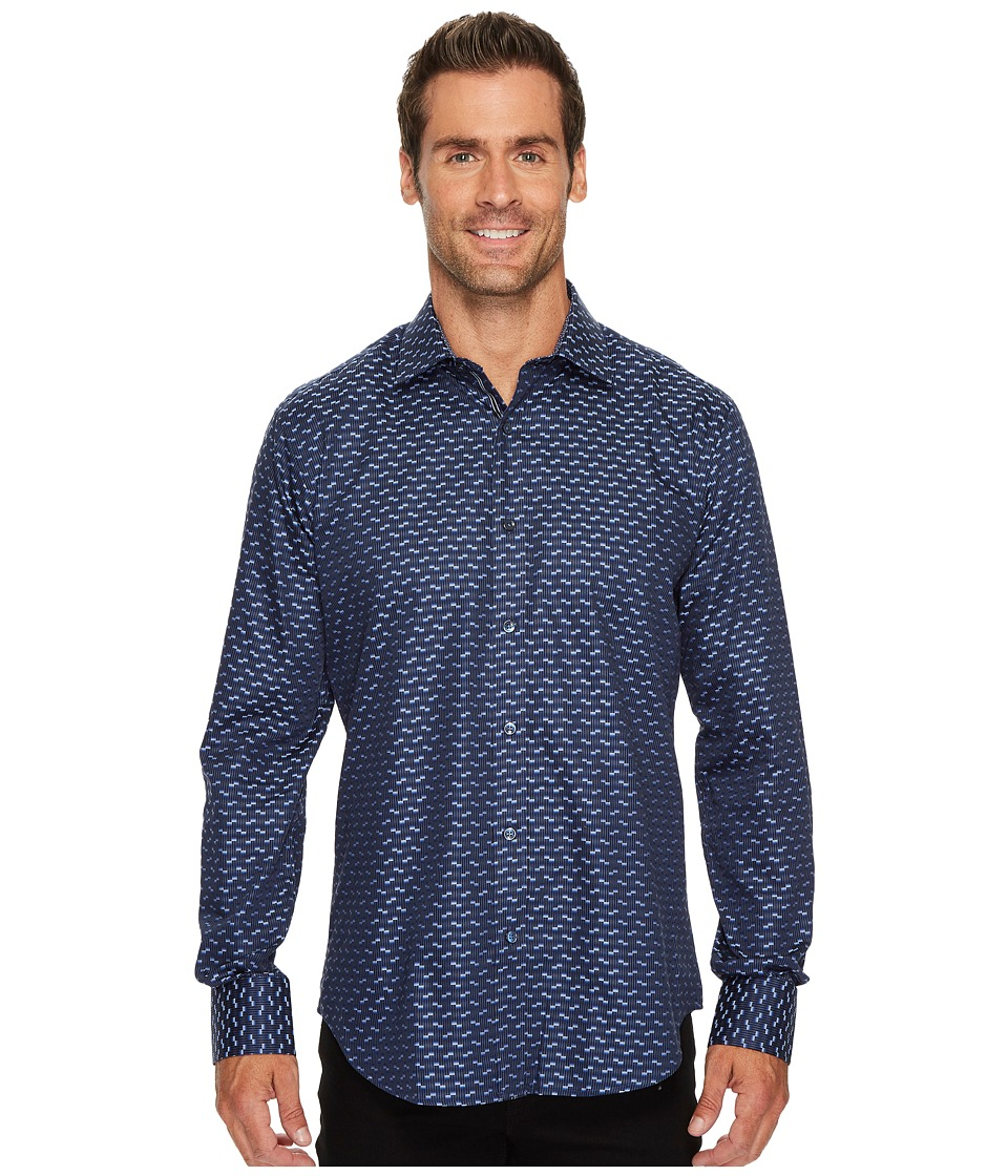 BUGATCHI - Long Sleeve Shaped Fit Point Collar Shirt (Night Blue) Mens Long Sleeve Button Up