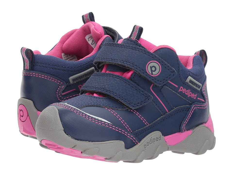 pediped Max Flex (Toddler/Little Kid) (Navy/Pink) Girl's Shoes