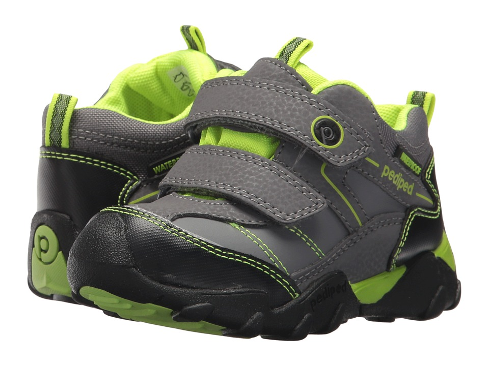 pediped Max Flex (Toddler/Little Kid) (Charcoal/Lime) Kid's Shoes