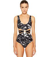 Proenza Schouler - Marble Print One-Piece w/ Trim Center Ring