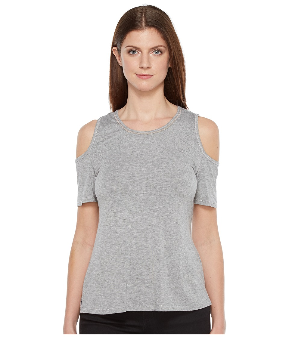 Ivanka Trump - Cold Shoulder Knit Top (Heather Grey) Women's Clothing