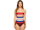 Kate Spade New York - Miramar Beach #59 Adjustable Bandeau One-Piece Swimsuit w/ Removable Soft Cups and Straps