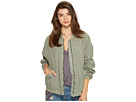 Ruched Linen Bomber