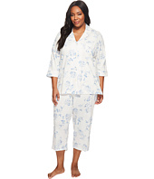 LAUREN Ralph Lauren - Plus Size 3/4 Sleeve Classic Notch Collar Capri Pajama
