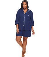 LAUREN Ralph Lauren - Plus Size 3/4 Sleeve Notch Collar Boxer PJ Set