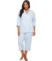 LAUREN Ralph Lauren - Plus Size Notch Collar Capri PJ Set