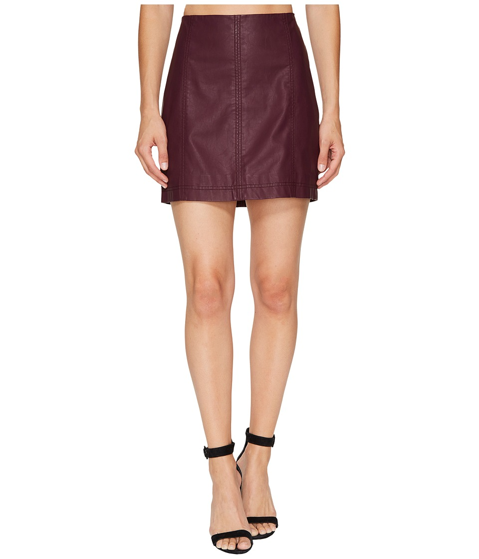 Free People Modern Femme Vegan Mini Skirt (Wine) Women