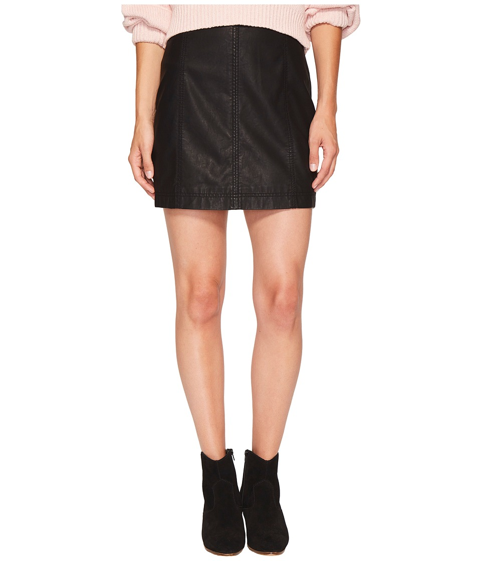 Free People Modern Femme Vegan Mini Skirt (Black) Women