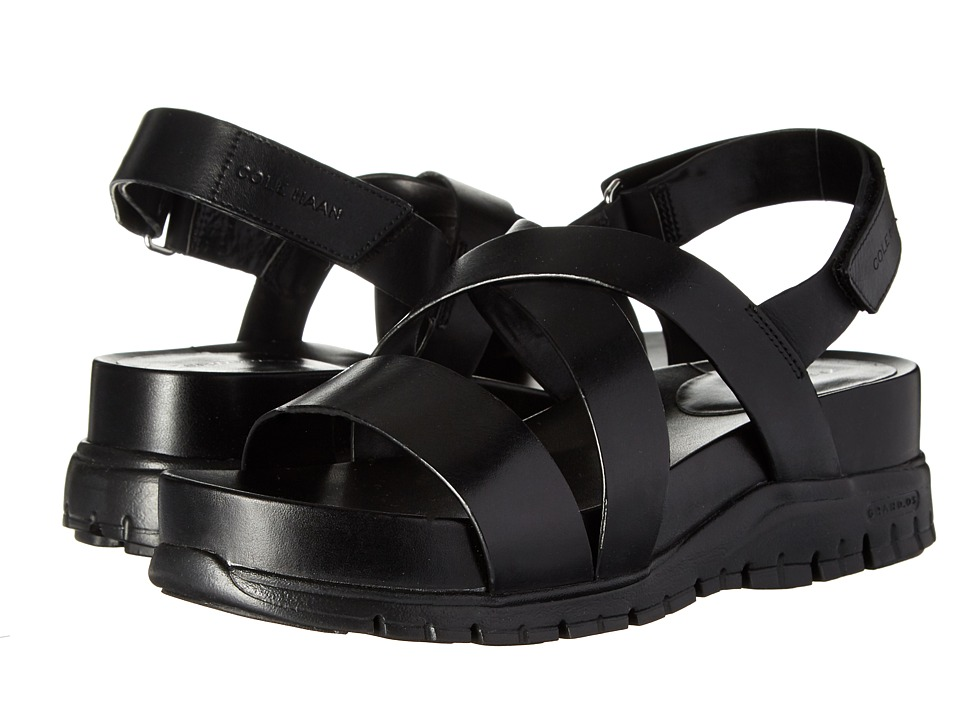 Cole Haan - Zerogrand Crisscross Sandal (Bds) (Black Leather/Black) Womens Shoes