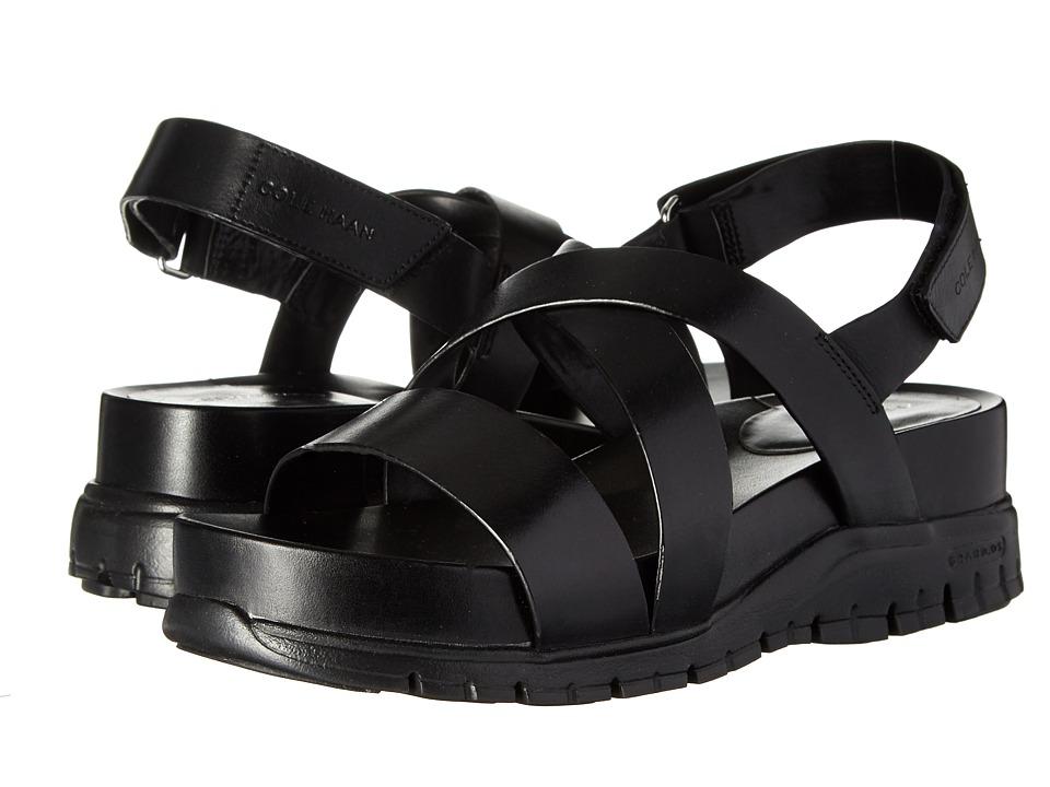 Cole Haan Zerogrand Crisscross Sandal (Bds) (Black Leather/Black) Women