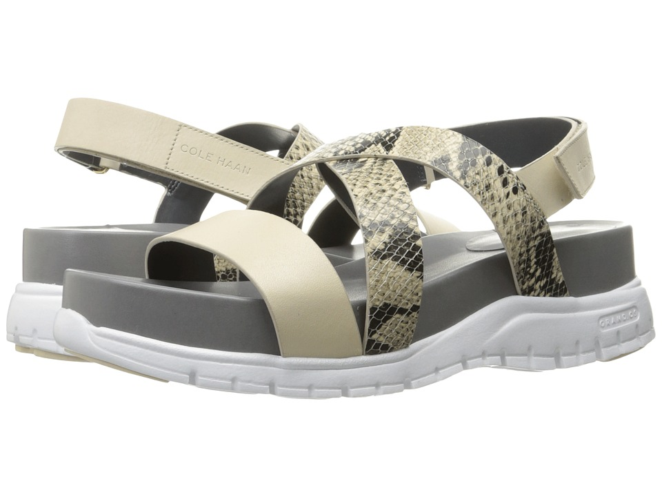 Cole Haan Zerogrand Crisscross Sandal (Bds) (Roccia Snake Print/Sandshell Leather/Optic White) Women