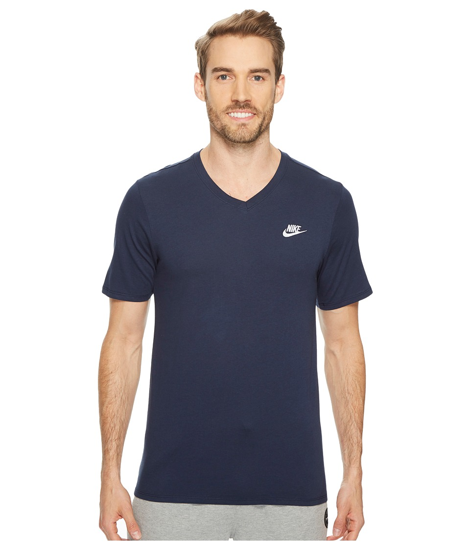 Nike Sportswear Futura V-Neck Tee (Obsidian/White) Men