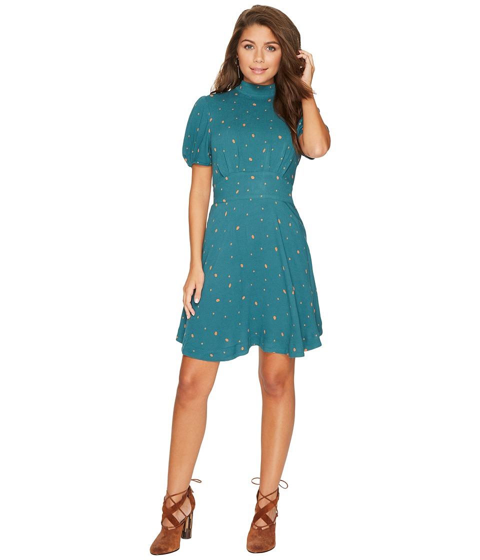Free People Abbie Printed Mini Dress (Green Combo) Women