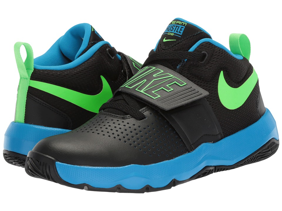 Nike Kids Team Hustle D8 (Big Kid) (Black/Rage Green/Photo Blue) Boys Shoes
