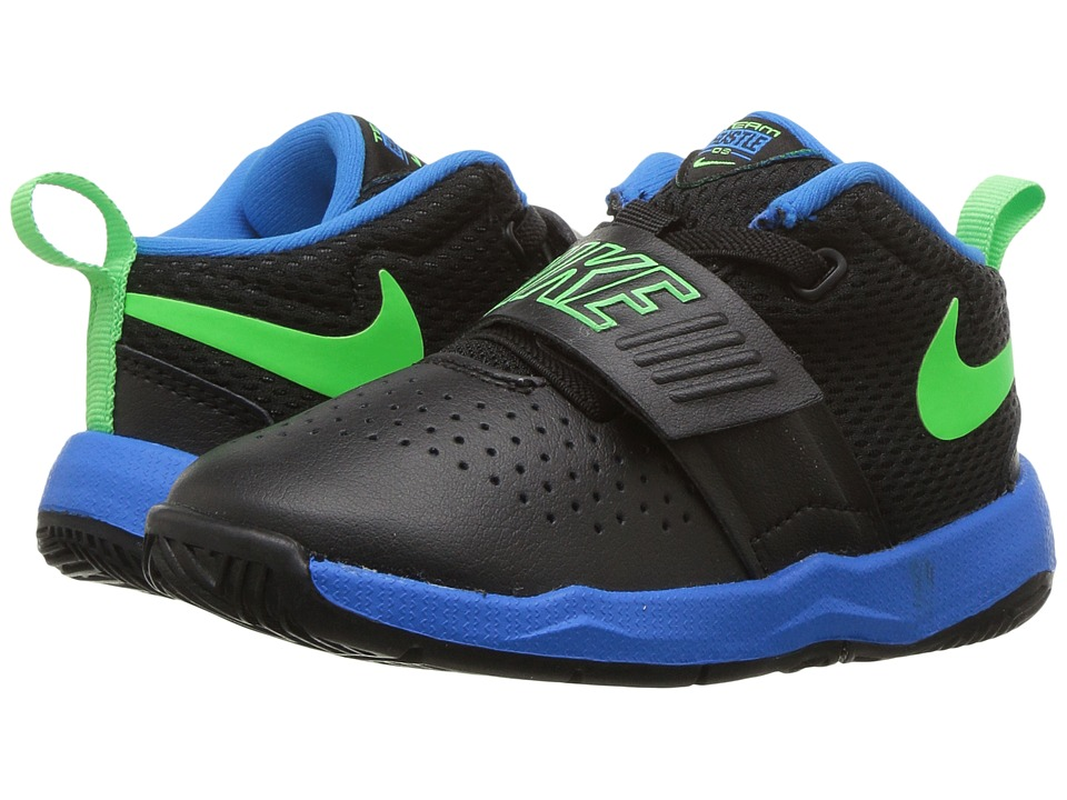Nike Kids Team Hustle D8 (Infant/Toddler) (Black/Rage Green/Photo Blue) Boys Shoes