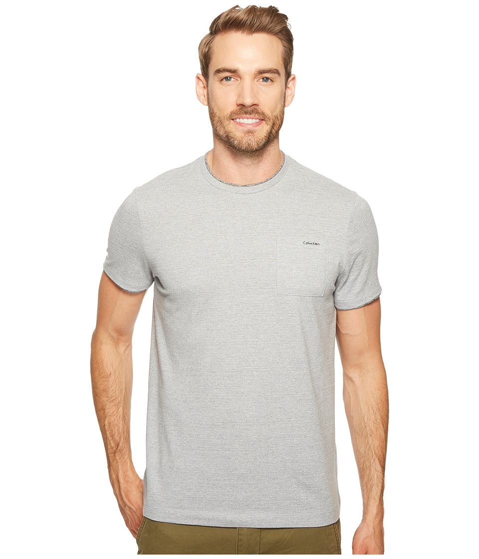 Calvin Klein Faux Double Layer Crew Neck T-Shirt (Silver Steel Heather) Men