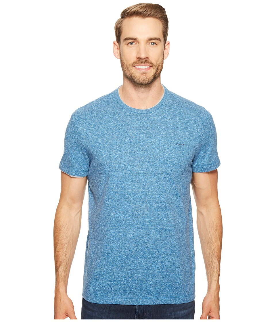 Calvin Klein Faux Double Layer Crew Neck T-Shirt (Core Blue Heather) Men