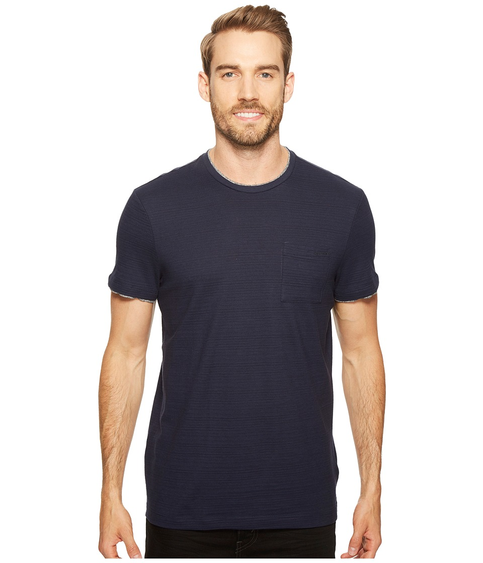 Calvin Klein Faux Double Layer Crew Neck T-Shirt (Cadet Navy) Men